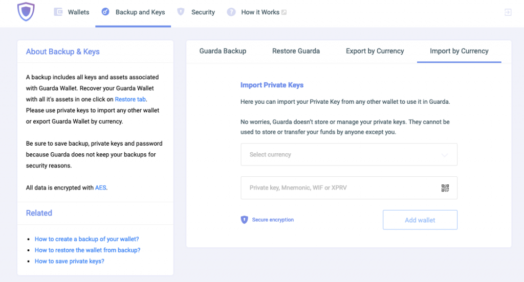 Guarda Wallet Import Private Key 1 Step