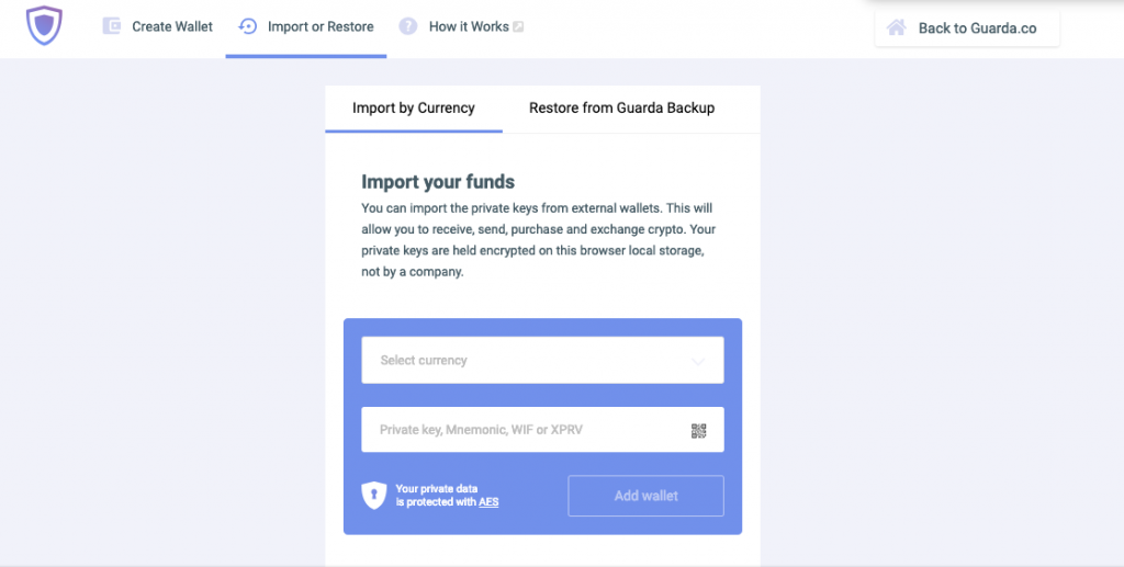 Guarda Wallet Import Private Key 2 Step