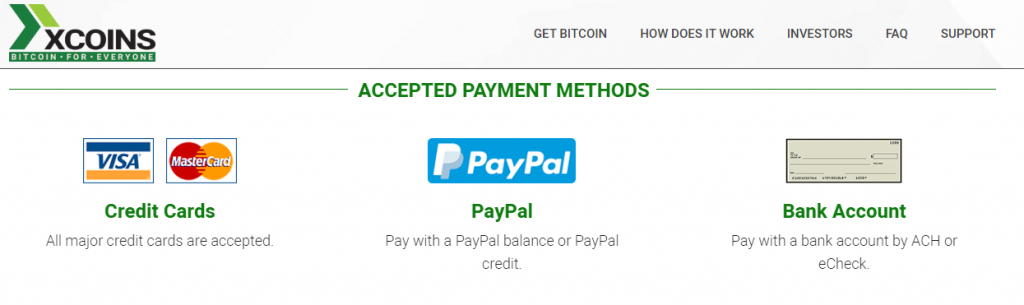 Accepted Payment Methods on xcoin