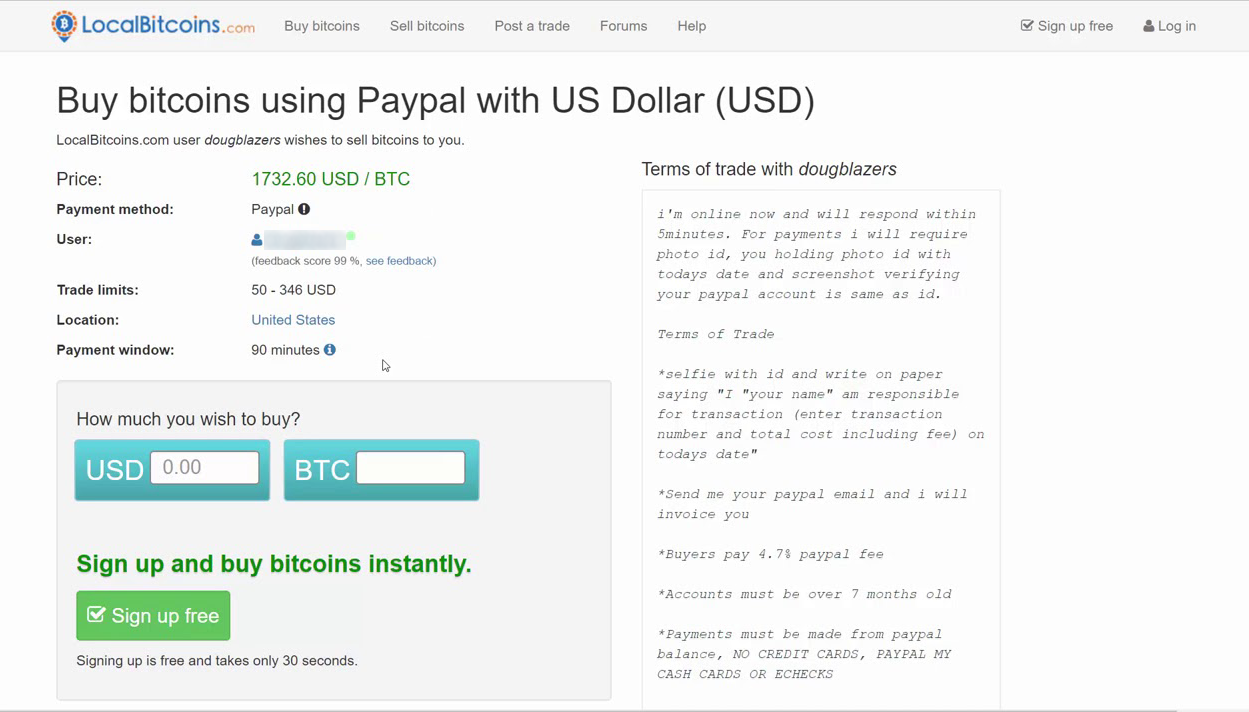 Buy bitcoins using Paypal on Localbitcoin