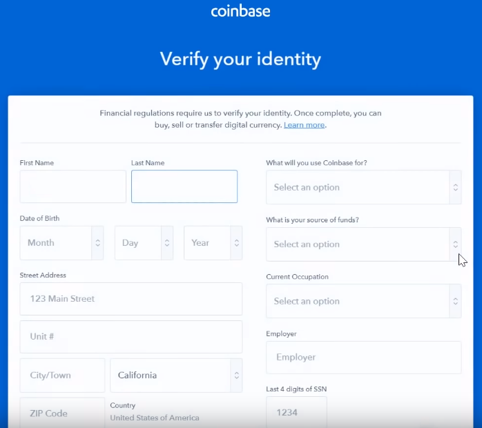 Identity Verification Page on Coinbase